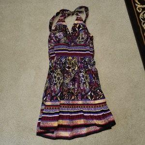 Ruched Halter Mini Strapless Cotton Dress L